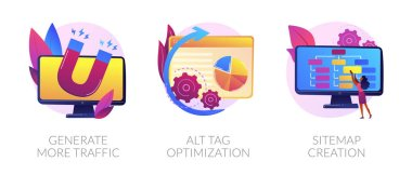 Website promotion services icons set. Search engine optimization business. Generate more traffic, alt tag optimization, sitemap creation metaphors. Vector isolated concept metaphor illustrations. icon