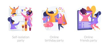 Spare time ideas for self-isolation in Covid-2019 quarantine icons set. Self-isolation party, online birthday party, online friends party metaphors. Vector isolated concept metaphor illustrations icon