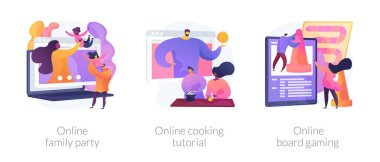 Relatives in self-isolation, quarantine spare time, covid pandemic icons set. Online family party, online cooking tutorial, online board game metaphors. Vector isolated concept metaphor illustrations icon