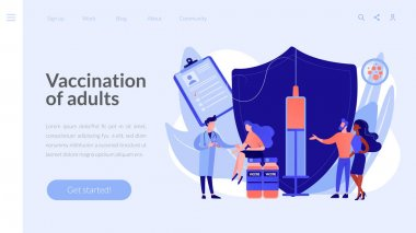 Vaccination of adults concept landing page.