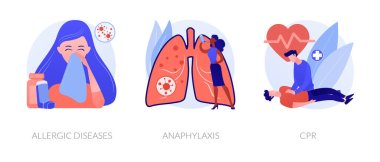 Allergic reactions first aid abstract concept vector illustration set. Allergic diseases, anaphylaxis, CPR emergency help. Skin and blood testing, diagnosis complications medication abstract metaphor. icon