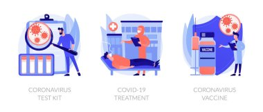 Virus diagnosis and patient treatment abstract concept vector illustration set. Coronavirus test kit, covid19 patient isolation quarantine and treatment, vaccine development abstract metaphor. icon