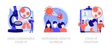 Coronavirus epidemy outbreak abstract concept vector illustration set. Novel coronavirus, covid19, world pandemic, virus spread respiratory infection, viral pneumonia symptoms abstract metaphor. icon