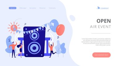 Open air party concept landing page.