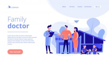 Family doctor concept landing page.