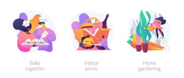Family fun during quarantine abstract concept vector illustration set. Bake together, indoor picnic, home gardening, baking with children, eco gardening, indoor activities ideas abstract metaphor. icon