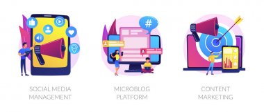 SMM business, internet blogging network, advertising strategy icons set. Social media management, microblog platform, content marketing metaphors. Vector isolated concept metaphor illustrations icon