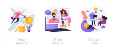 Business startup and communication abstract concept vector illustration set. Angel investor, online meetup, startup hub, financial support, online crowdfunding, entrepreneurship abstract metaphor. icon