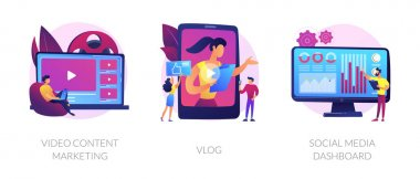 Digital advertising business, online streaming, user statistics analysis icons set. Video content marketing, vlog, social media dashboard metaphors. Vector isolated concept metaphor illustrations icon