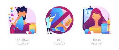 Allergy types abstract concept vector illustration set. Seasonal food and drug allergy symptoms remedy and treatment. Skin and blood testing, diagnosis complications and medication abstract metaphor. icon