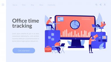 Time and attendance tracking system concept landing page