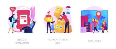 Medical volunteer assistance, charity activities and community service works icons set. Blood donation, humanitarian aid, refugees metaphors. Vector isolated concept metaphor illustrations icon