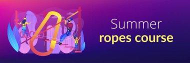 Summer ropes course concept banner header.