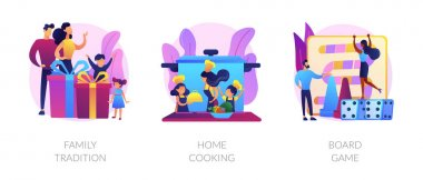Relatives bonding, homemade food preparation, entertainment activity icons set. Family tradition, home cooking, board game metaphors. Vector isolated concept metaphor illustrations icon