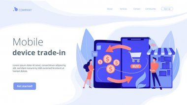 Mobile device trade-in concept landing page.
