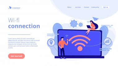 Wi-fi connection concept landing page.