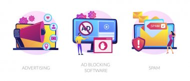 SMM business, annoying online notifications and internet newsletter protection icons set. Advertising, ad blocking software, spam metaphors. Vector isolated concept metaphor illustrations icon