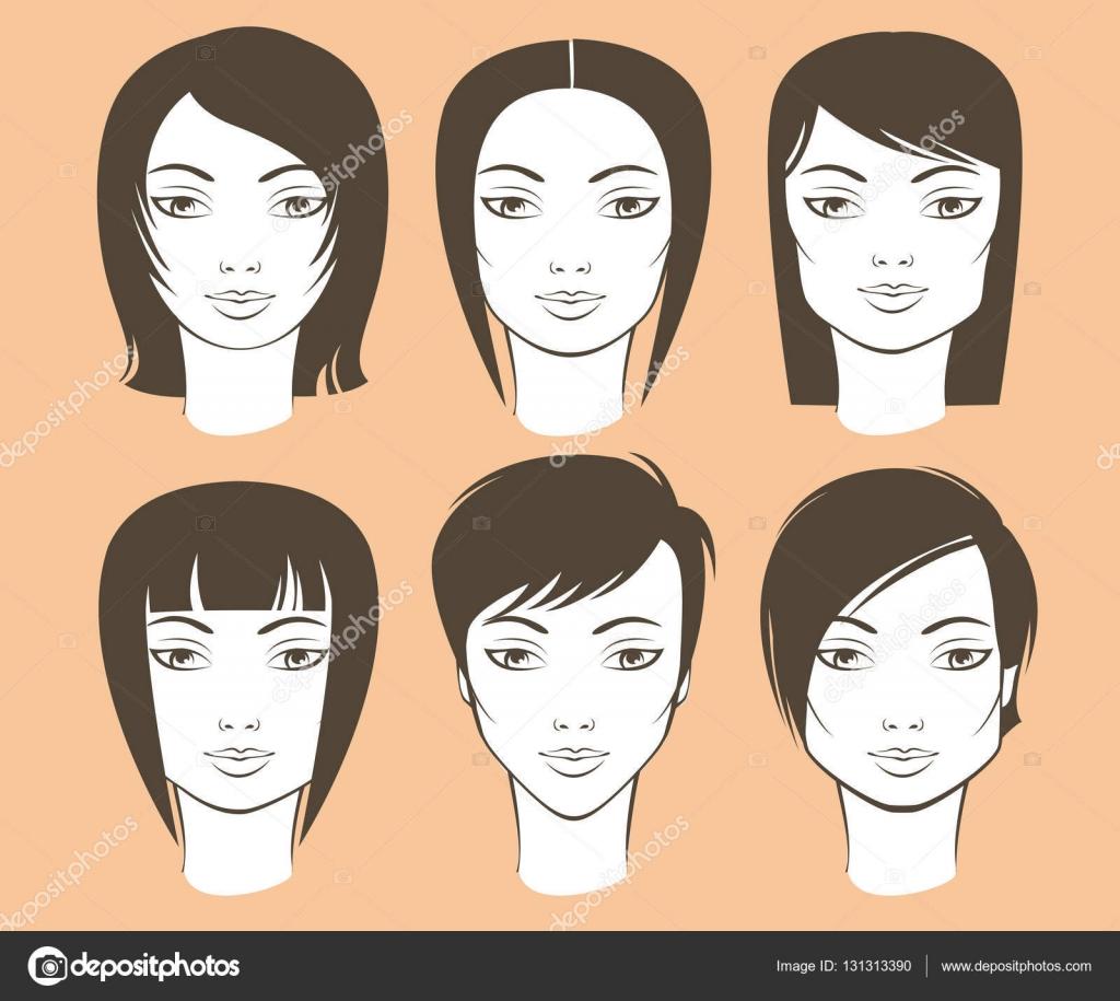 Weiblichen Gesichtsformen Und Haarschnitte Stockvektor C Zubada