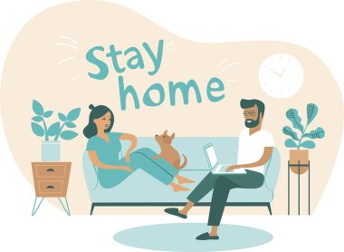 Coronavirus covid-19 self quarantine concept. Family working from home. Man and woman sitting on couch and working on laptop. Flat cartoon vector illustration