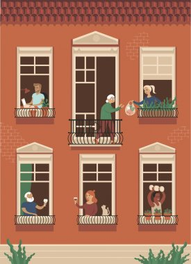 Neighbor people life through open windows. Housemates working, drinking wine, doing sport exersicessupports elderly people during self isolation Vector illustration for coronavirus COVID-19 disease outbreak concept.