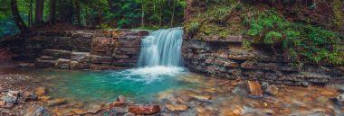 Evening Manyavsky waterfall in forest. Carpathian mountains, Ukraine.