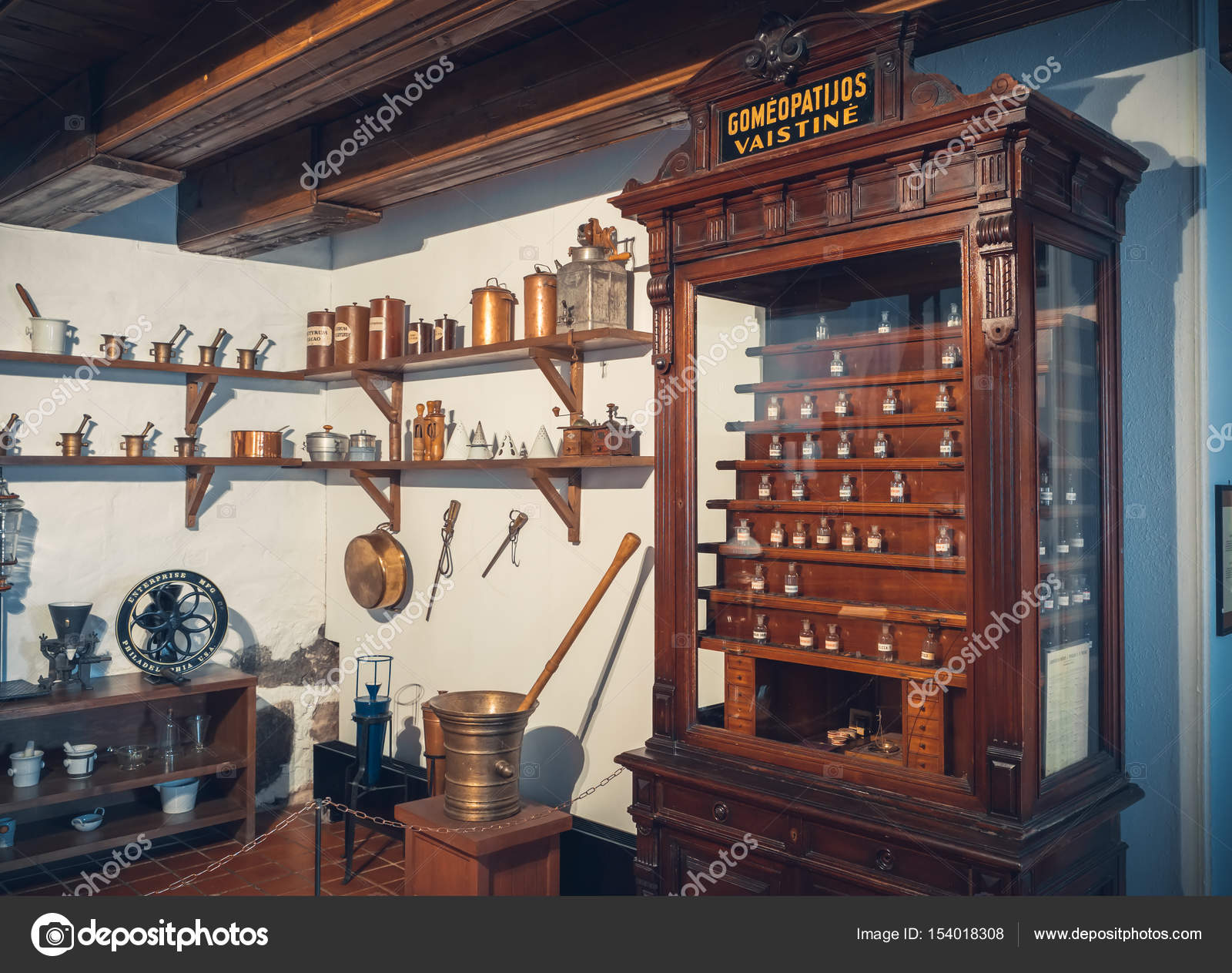 Kaunas, Lithuania   May 12, 2017: Old Apothecary Cabinet Of Homeopathy  Drugs And