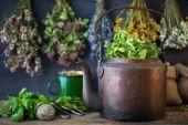 Vintage mědi čajové konvice, léčivé rostliny pro zdravý bylinkový čaj a visí léčivé byliny. Bylinná medicína