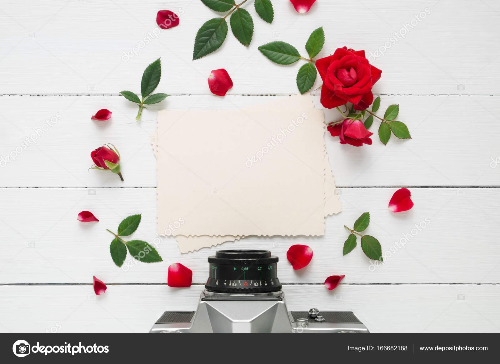 Retro-leere Bilderrahmen für innen, Retro-Kamera und rote rose ...