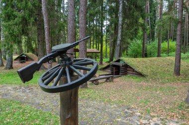 Stankovo village, Belarus - October 08, 2017 - Military historical complex Partizanen camp in Stankovo village, Minsk Region, Belarus.