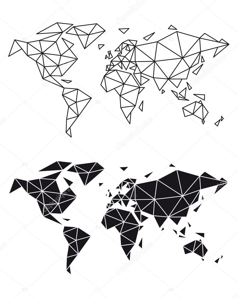 Geometric world map vector stock vector beaubelle 128006800 abstract geometric world map polygon earth vector illustration vector by beaubelle gumiabroncs Choice Image