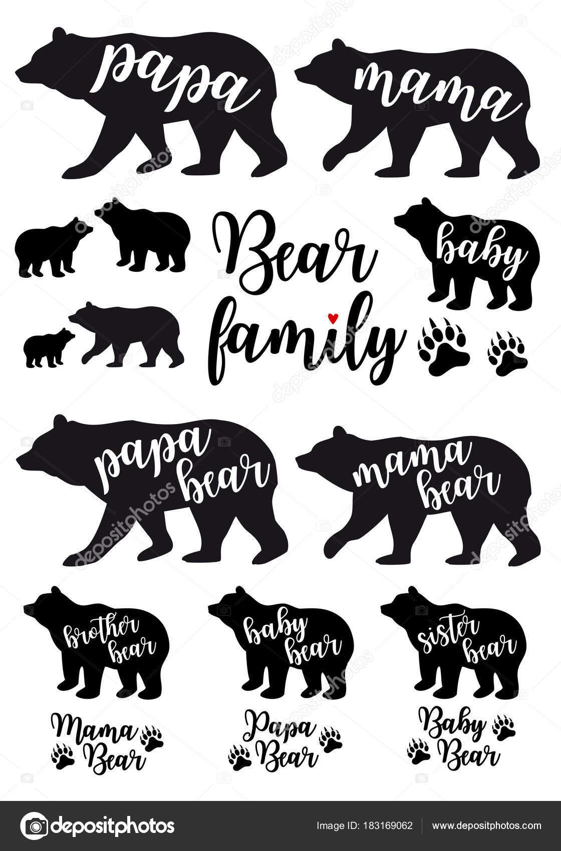 Mama Bear Papa Bear Baby Bear Vector Set Stock Vector