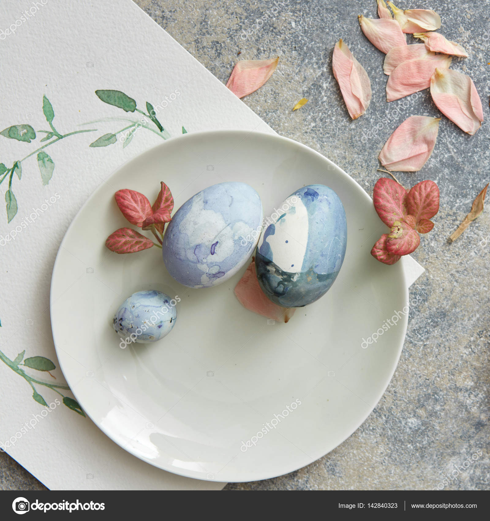 Easter Eggs On Plate With Leaves And Petals U2014 Stock Photo