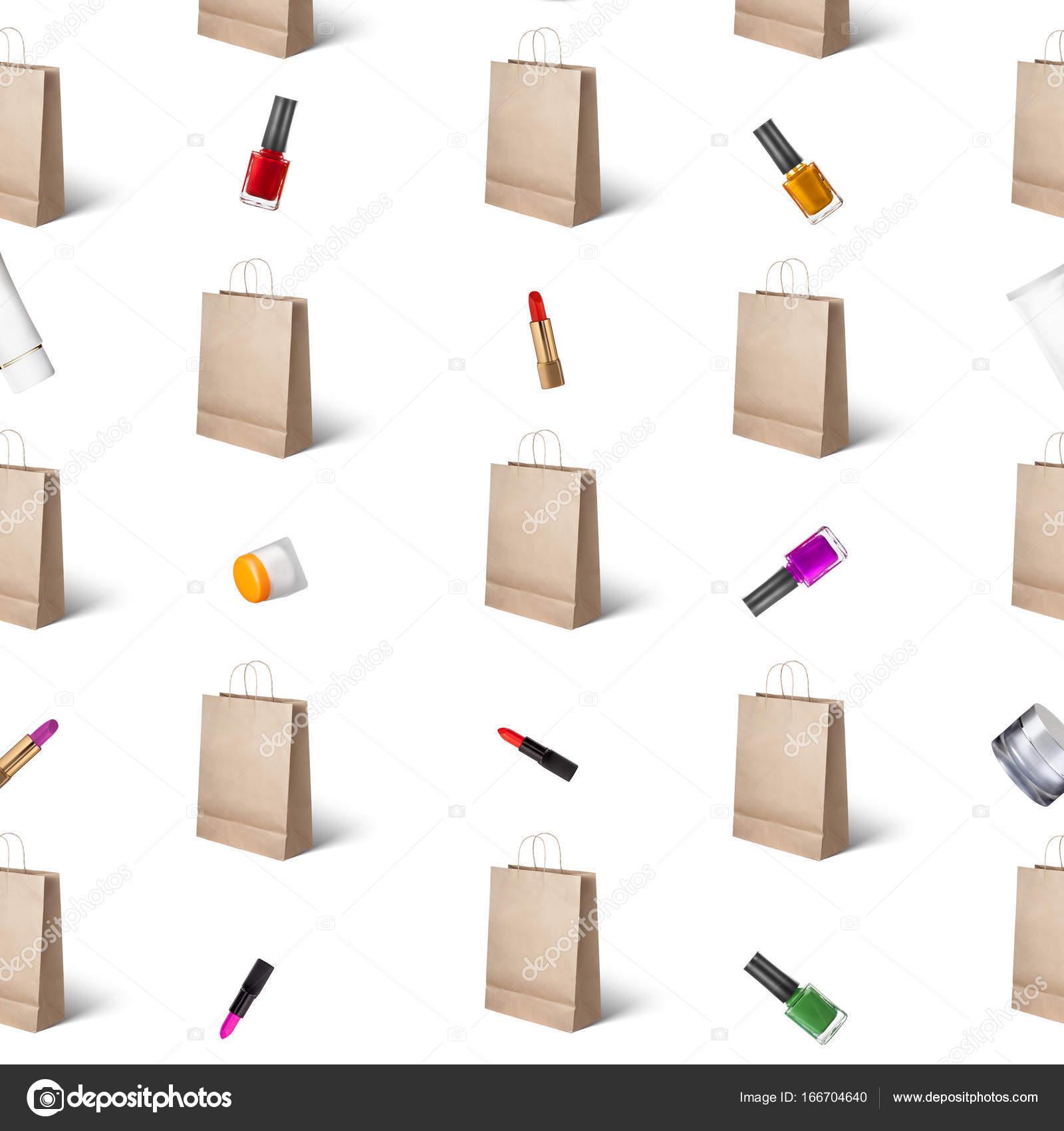 patrones de bolsas de papel y cosméticos — Foto de stock © artjazz ...