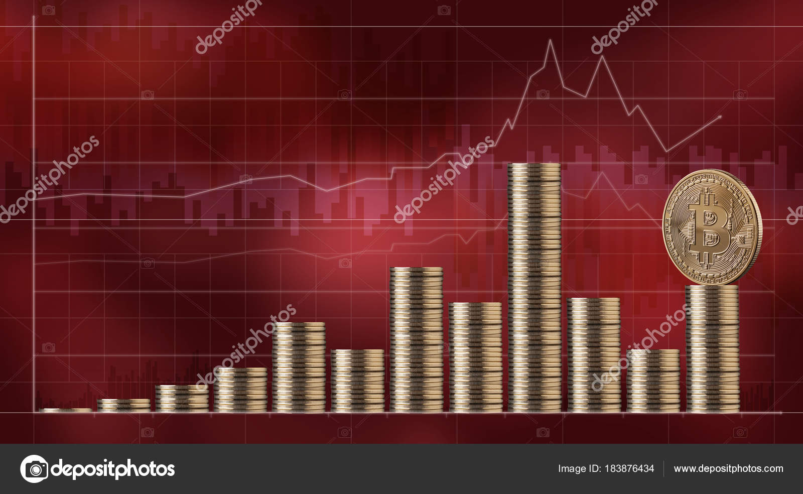 Stacks Bitcoin Golden Coins Red Market Charts Background