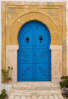 Blue traditional door with arch