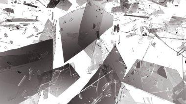 Shattered or demolished glass