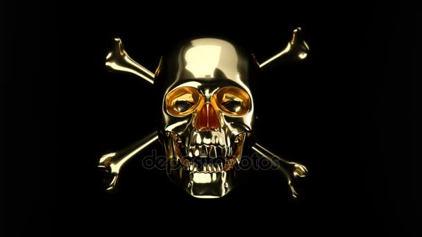 Golden Skull with crossed bones or totenkopf with alpha
