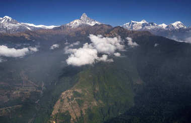View from Ultralight plane or trike over Pokhara and Machapuchare in Nepal