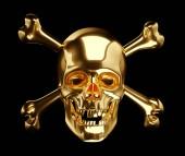 Photo Golden Skull with cross bones or totenkopf on black