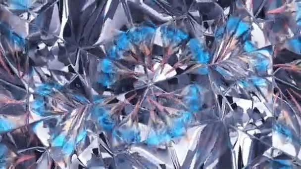 kaleidoskop abstrakce rotující třpytivé lesklé sklo textury bezešvé smyčky. 3D vykreslení, 3D animace