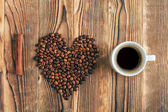 Heart shape made from coffee beans