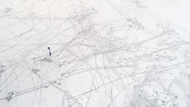 human traces on snow
