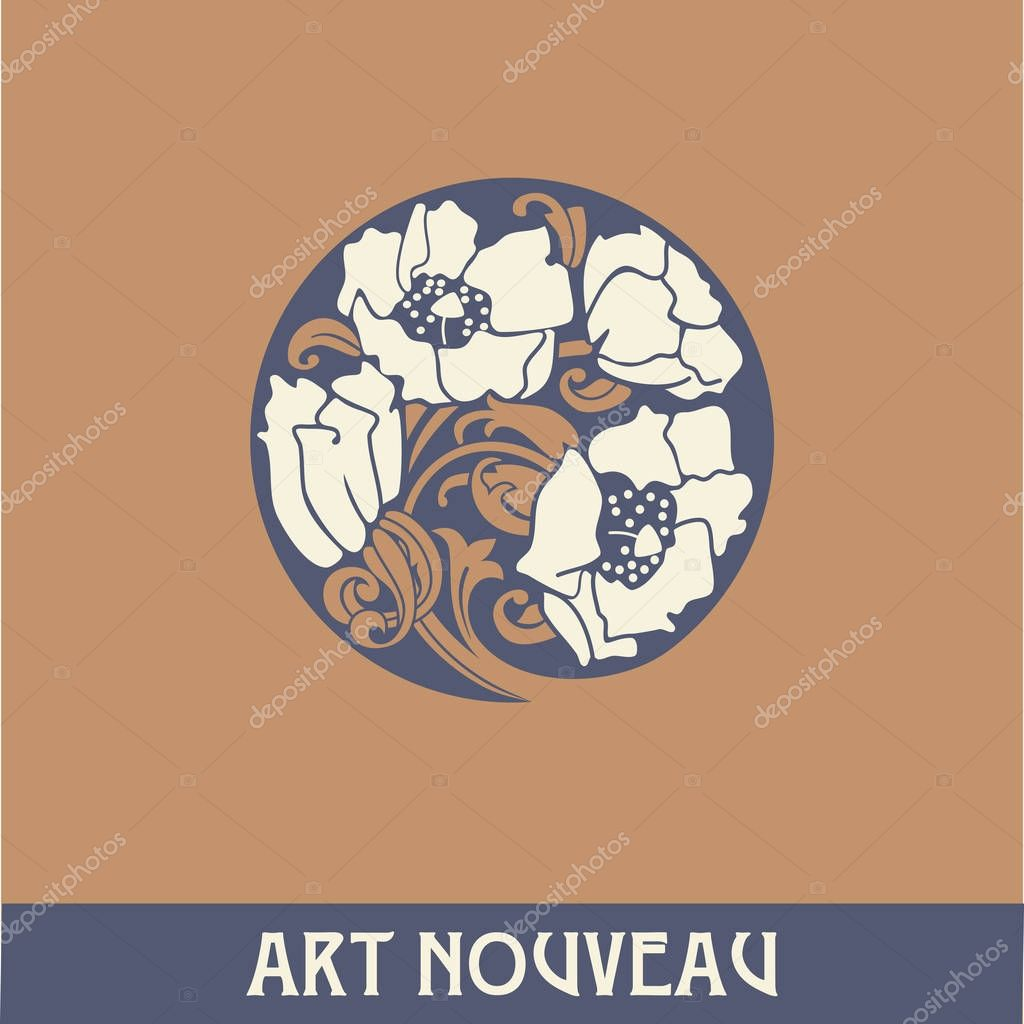 Design element in art nouveau style. High-quality hand-drawn work.