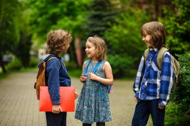 Little school students briskly talk on the schoolyard.