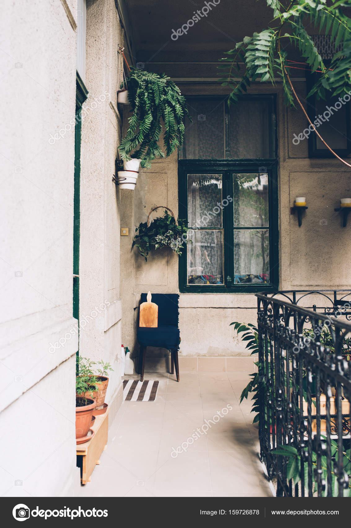Delightful Veranda Of Old House, Green Window, Vintage Details And Home Pla U2014 Stock  Photo