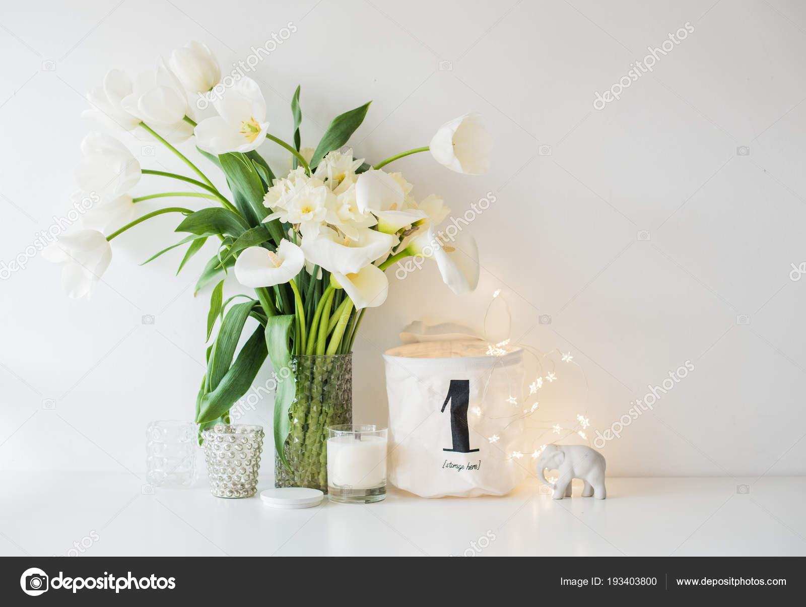 Large bouquet of white spring flowers in a vase daffodils tuli large bouquet of white spring flowers in a vase daffodils tuli stock photo mightylinksfo