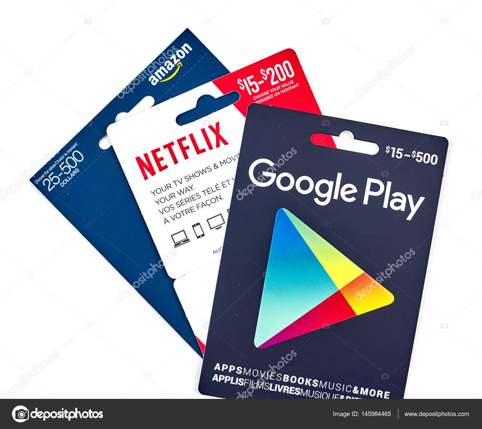 netflix google play and tcards – stock editorial photo