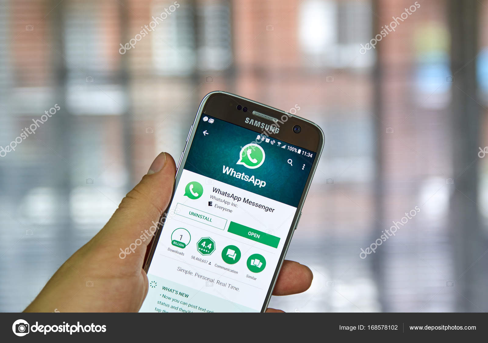 Whatsapp mobile application on screen of Samsung – Stock