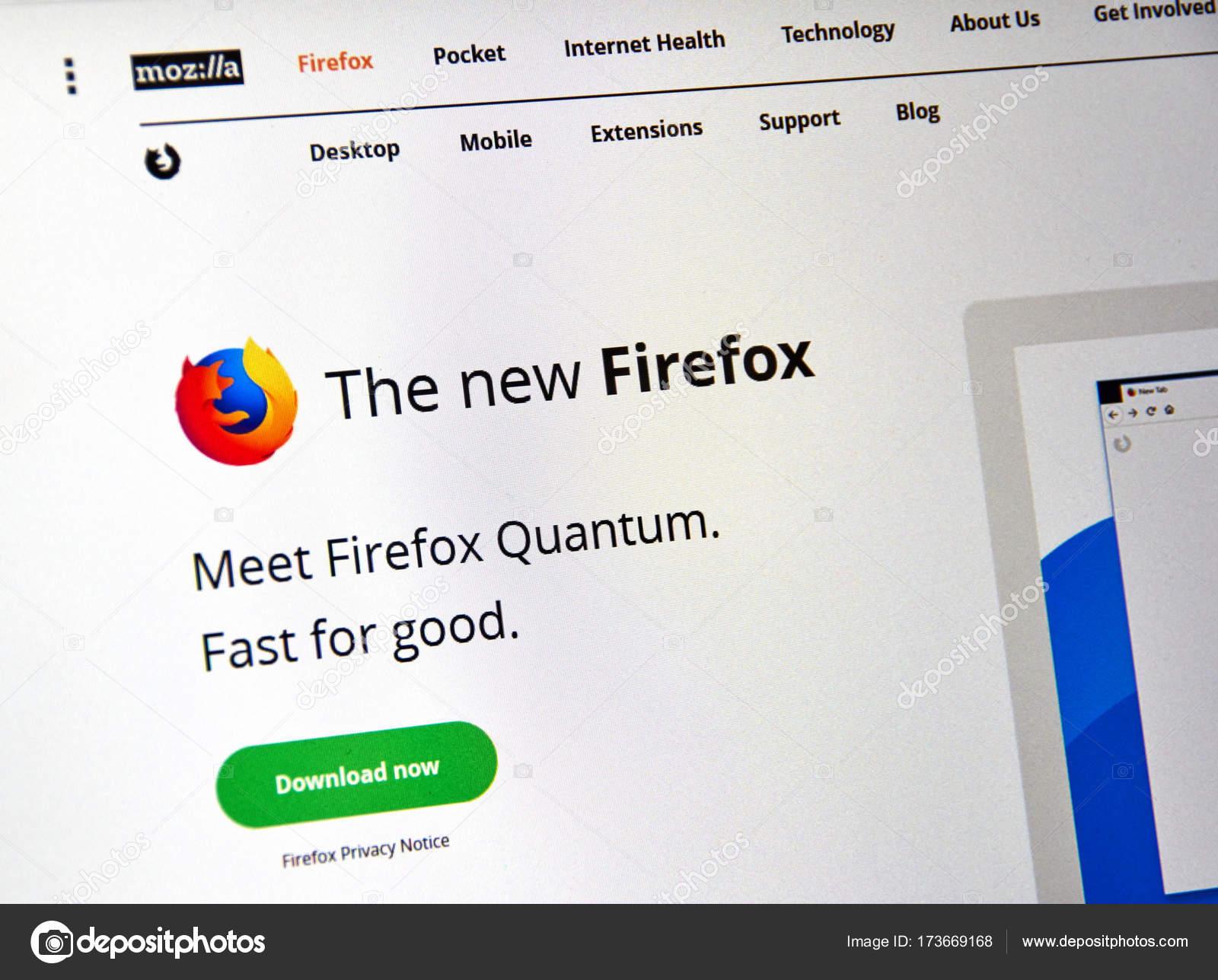 Página de web Firefox quântica  — Fotografia de Stock