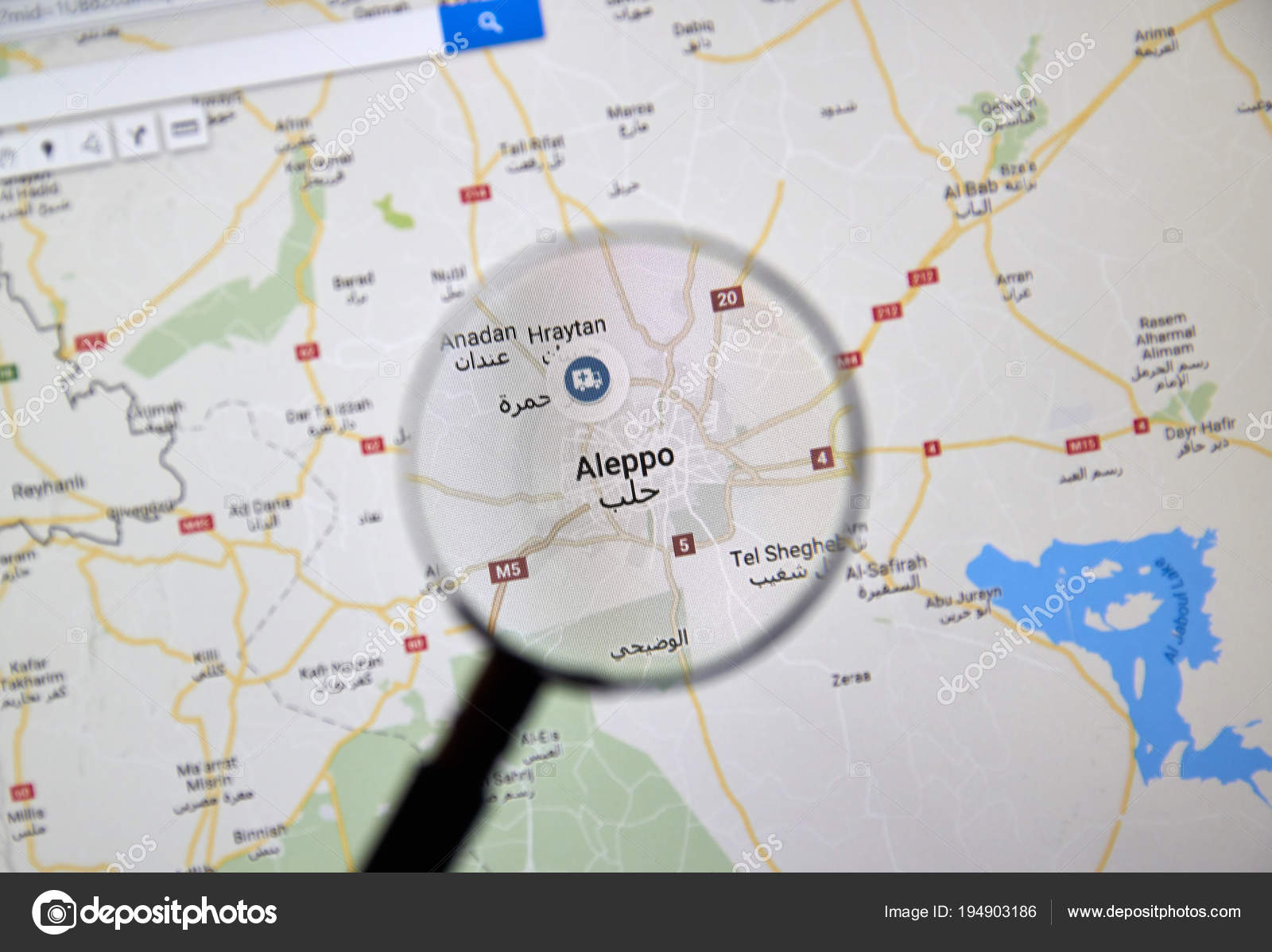Aleppo Syria On Google Maps Under Magnifying Glass Stock